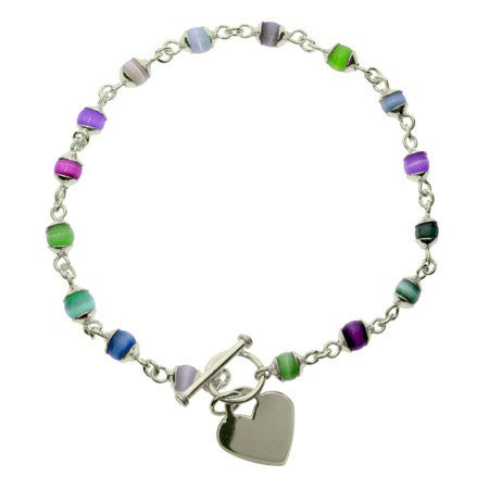 Sterling Silver Cats Eye Heart Tag Anklet | Eve's Addiction®