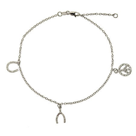 Wish For Peace and Luck CZ Anklet | Eve's Addiction®