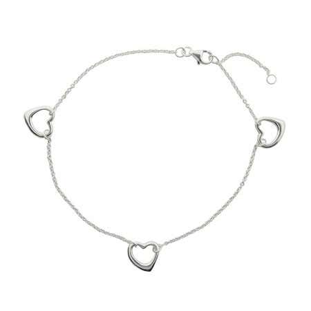 Sterling Silver Triple Hearts Ankle Bracelet