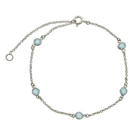display slide 1 of 1 - Blue Topaz CZ Studded Anklet - selected slide