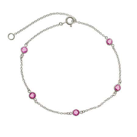 Raspberry CZ's Studded Chain Anklet