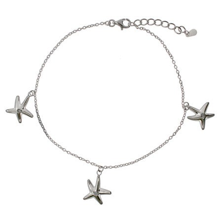 Sandy Beach Sterling Silver Starfish Anklet | Eve's Addiction®