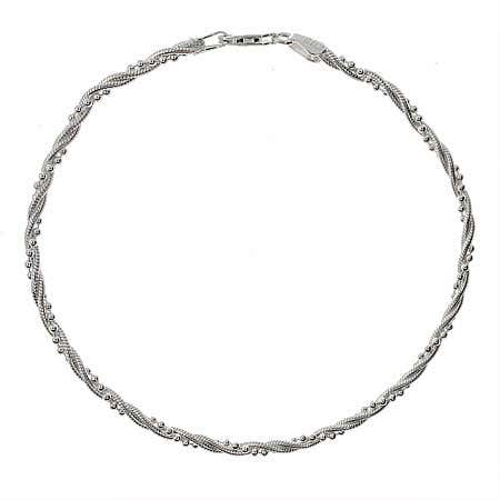 Twisted Bead Snake Chain Sterling Silver Anklet
