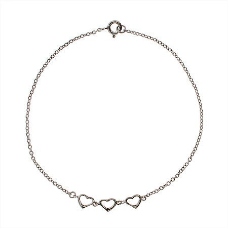 Triple Hearts Anklet in Sterling Silver | Eve's Addiction®