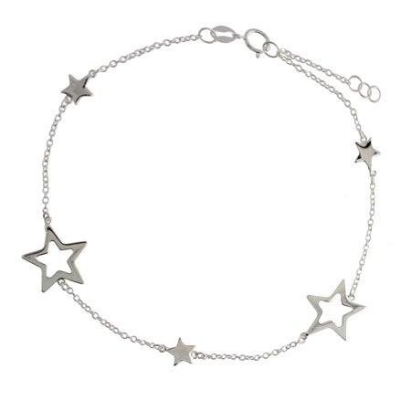 Designer Style Sterling Silver Stars Anklet | Eve's Addiction®