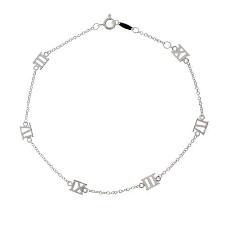 Designer Style Sterling Silver Roman Numeral Anklet | Eve's Addiction®