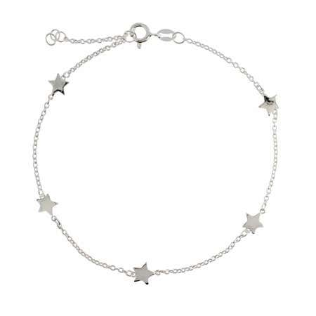 display slide 1 of 1 - Chain of Stars Sterling Silver Anklet - selected slide