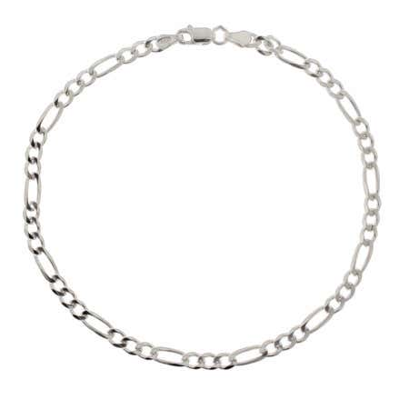 Sterling Silver Figaro Link Anklet | Eve's Addiction®