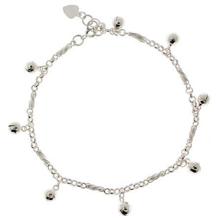 Jingling Bell Ankle Bracelet in Sterling Silver