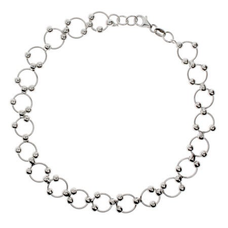 Beaded Circle Link Sterling Silver Anklet | Eve's Addiction®