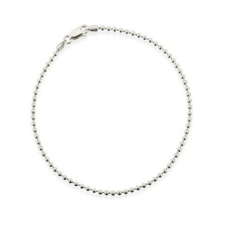 Sterling Silver 2.2mm Bead Ankle Bracelet   Eve's Addiction®