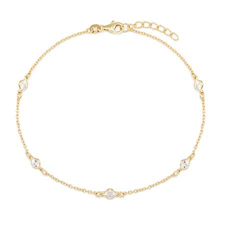 Designer Style Gold Vermeil CZ Studded Chain Anklet
