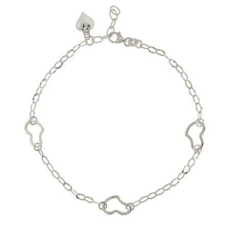 Oval Link Triple Heart Anklet in Sterling Silver