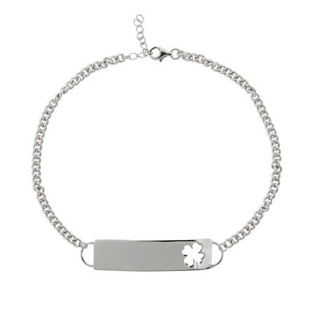 Sterling Silver Lucky Clover Engravable ID Anklet | Eve's Addiction®