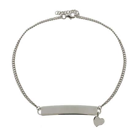 Sterling Silver Engravable ID Anklet With Heart Charm