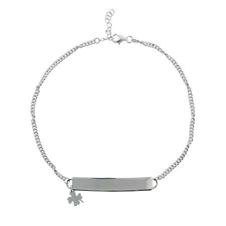 Sterling Silver Engravable ID Anklet With Clover Charm