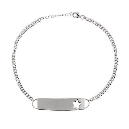 Sterling Silver Engravable ID Anklet with Star | Eve's Addiction®