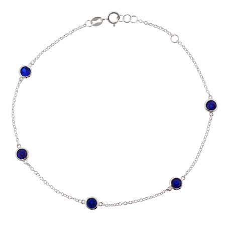 Sapphire Blue CZ Studded Chain Anklet | Eve's Addiction®