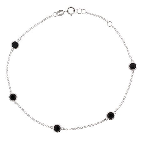 Sterling Silver Black CZ Studded Chain Anklet | Eve's Addiction®
