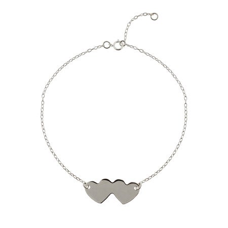 Sterling Silver Engravable Joined Hearts Anklet | Eve's Addiction®
