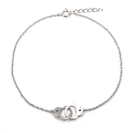 display slide 1 of 1 - Handcuff Sterling Silver Anklet - selected slide