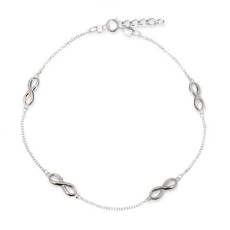 Sterling Silver Infinity Anklet | Eve's Addiction