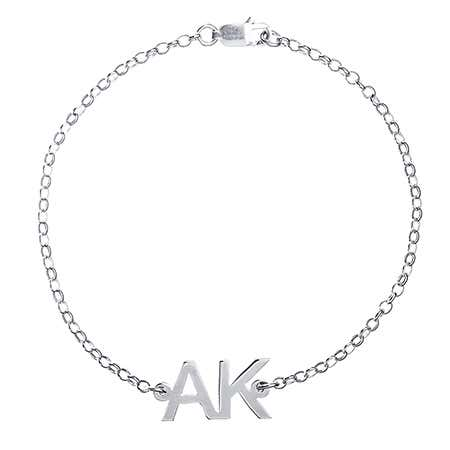 Two Initial Sterling Silver Anklet | Eve's Addiction®