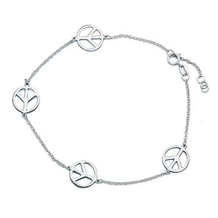 Peace Sign Sterling Silver Anklet
