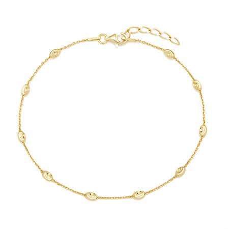 Diamond Cut Beaded Gold Vermeil Adjustable Anklet | Eve's Addiction®