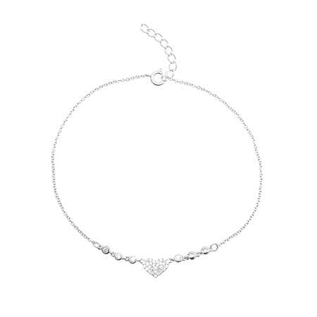Pave Heart with Bezel Set CZs Sterling Silver Anklet