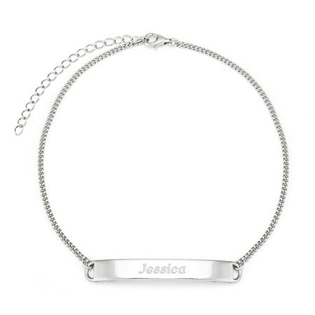 Engravable Name Bar Sterling Silver Anklet With Front Plate