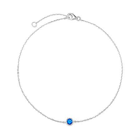 Personalized Single Stone Birthstone Anklet in Silver