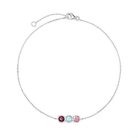 3 Stone Personalized Birthstone Anklet in Sterling Silver