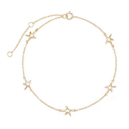 Starfish Gold Anklet | Gold Plated Silver Starfish Anklet