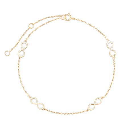Adjustable Infinity Gold Plated Sterling Silver Anklet