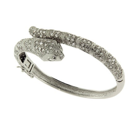 Dazzling Celebrity Style CZ Snake Bangle Bracelet | Eve's Addiction®