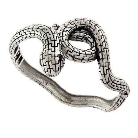 Celebrity Style Serpent Snake Bangle Bracelet with Onyx Eyes