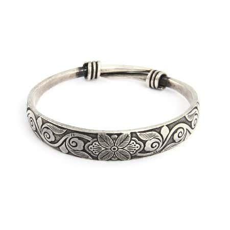 Etched Botanical Bali Style Bangle Bracelet