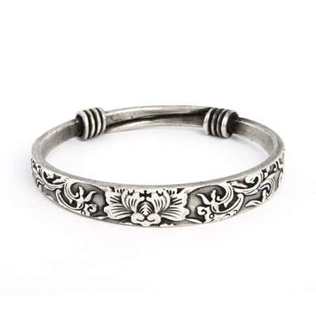 Swirling Lotus Bali Bangle Bracelet