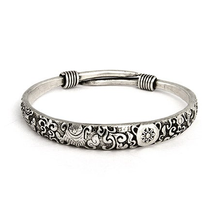 Elaborate Scrollwork Design Bali Bangle Bracelet | Eve's Addiction®