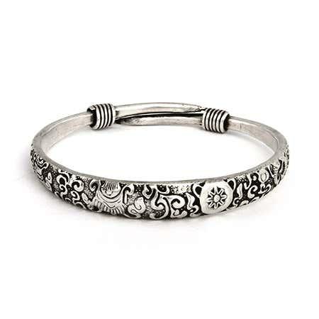 Elaborate Scrollwork Design Bali Bangle Bracelet