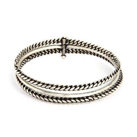Oxidized Twisted Design 3 Piece Bali Bangle Bracelet | Eve's Addiction®