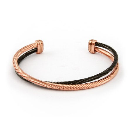 Rose Gold and Black Crossover Cable Cuff Bracelet | Eve's Addiction®