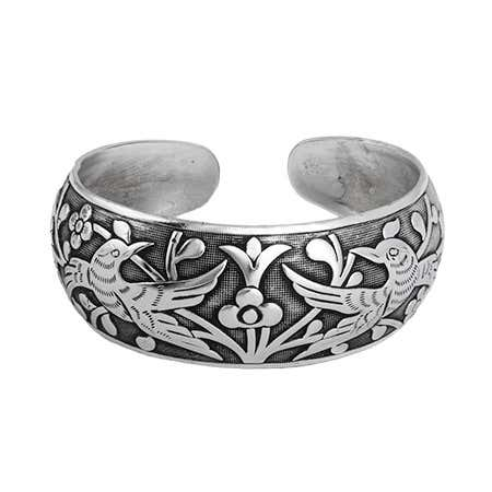 Loving Doves Wide Bali Cuff Bracelet   Eve's Addiction