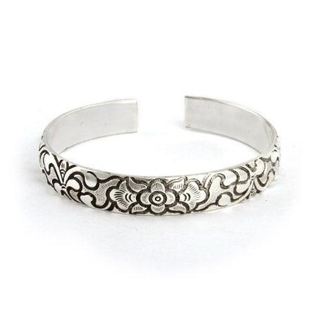 Raised Decorative Flower Design Bali Cuff Bracelet   Eve's Addiction®