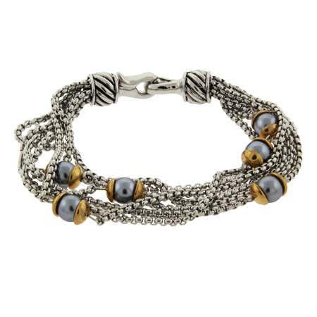 Designer Inspired Six Strand Gray Pearl Bracelet   Eve's Addiction®
