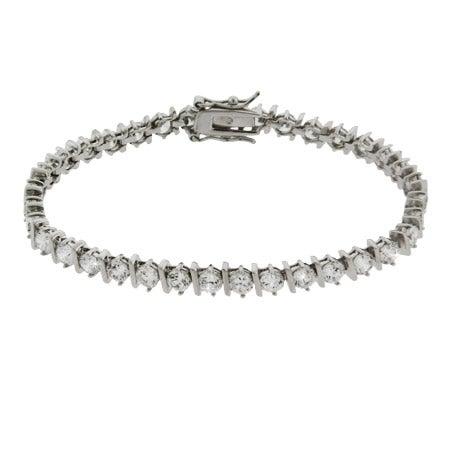 Brilliant Cut Banded CZ Tennis Bracelet | Eve's Addiction®
