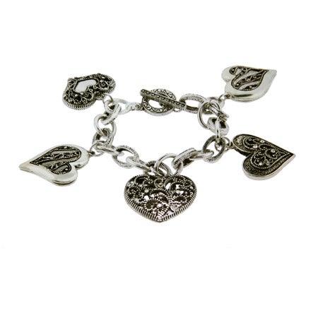 Antique Heart CZ Charm Bracelet | Eve's Addiction