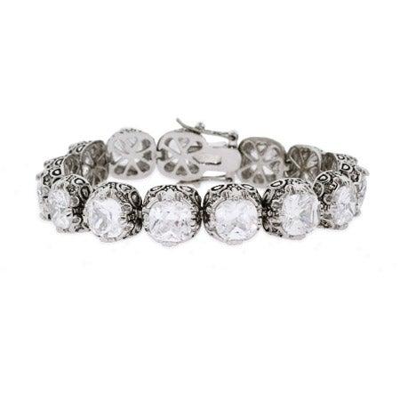Crown Set CZ Bali Style Bracelet | Eve's Addiction®