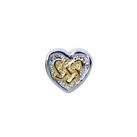 Gold Large Knotted Heart Bead